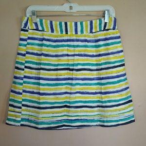 LOFT 0P Blue Yellow White Striped Skirt